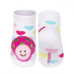 Froté ponožky s hrkálkou 0-12 mesiacov - pásikavé